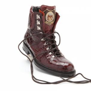 Caporicci Genuine Alligator Lace Up Boots Cognac Image