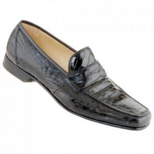 Caporicci 9961 Genuine Alligator Penny Loafers Black Image