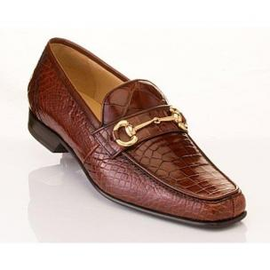 Caporicci 9872 Genuine Alligator Bit Loafers Gold Image