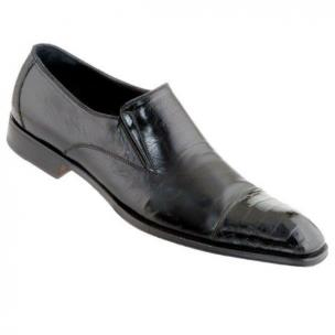 Caporicci Soft Leather & Genuine Alligator Cap Toe Loafers Black Image