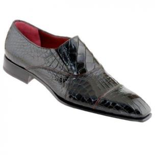 Caporicci 202 Genuine Alligator Cap Toe Loafers Black Image
