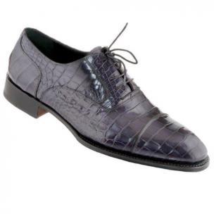 Caporicci 1102 Genuine Alligator Cap Toe Shoes Navy Image