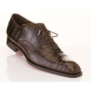 Caporicci 1102 Genuine Alligator Cap Toe Shoes Dark Brown Image