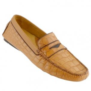 Caporicci Alligator Driving Loafers Tan  Image
