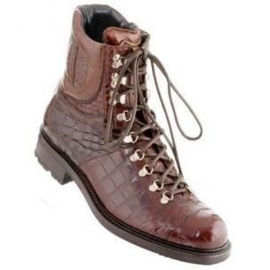 Caporicci Genuine Alligator Hiking Boots Rust Image