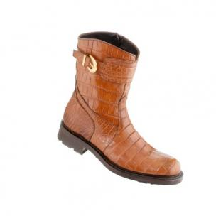 Caporicci Alligator Motorcycle Boot Castagno Gold Image