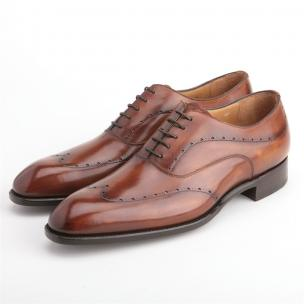 Carlos Santos Cruise Wingtip Brogue Oxfords Tan Image