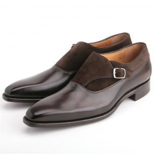 Carlos Santos Lusitanos Suede & Calfskin Monk Strap Shoes Dark Brown Image