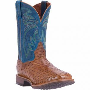 Dan Post Freestone DP4535 Full Quill Ostrich Boots Antique Saddle / Blue Image