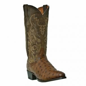 Dan Post Tempe DP2323 Ostrich Quill Western Boots Saddle Tan Image