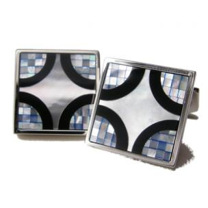 Daniel Dolce Mosaic Mother of Pearl & Onyx Cufflinks DI2051 Image