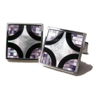 Daniel Dolce Mosaic Mother of Pearl & Onyx Cufflinks DI2052 Image