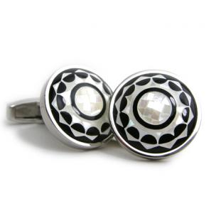 Daniel Dolce Mosaic Mother of Pearl & Onyx Cufflinks DI2261 Image