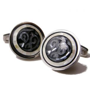 Daniel Dolce Mosaic Mother of Pearl & Onyx Cufflinks DI91R5 Image