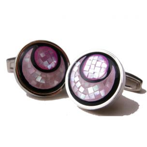 Daniel Dolce Mosaic Mother of Pearl & Onyx Cufflinks DI972 Image