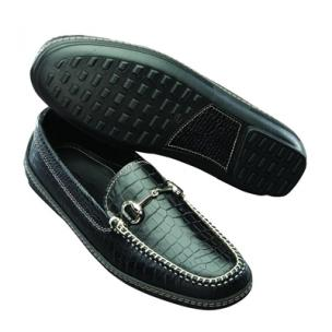 David Spencer Croco Bit Driving Loafers Black Image