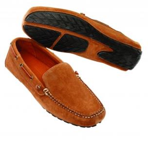 David Spencer Magellan Suede Venetian Driving Shoes Sand Image