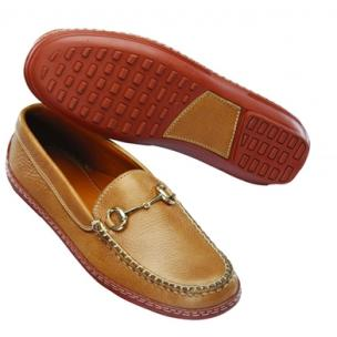 David Spencer Tumbled Leather Bit Driving Loafers Tan Image