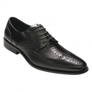 David X Lenny Ostrich & Calfskin Wingtip Shoes Image