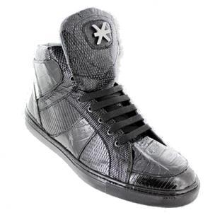 David X Matt Crocodile & Lizard Sneakers Black Image