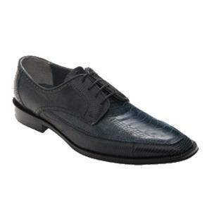 David X Monte Ostrich & Lizard Shoes Navy Image