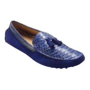 David X Porta Python & Suede Driving Shoes Electric Blue Image