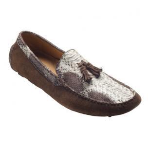 David X Porta Python & Suede Driving Shoes Natural/Brown Image