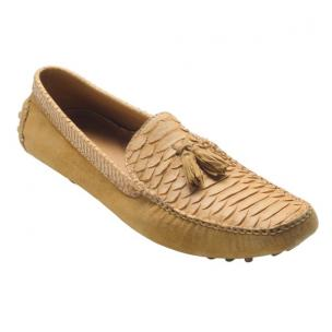 David X Porta Python & Suede Driving Shoes Sand Image