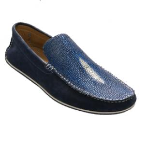 David X Ray Stingray & Suede Loafers Blue Image