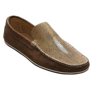David X Ray Stingray & Suede Loafers Gold / Brown Image