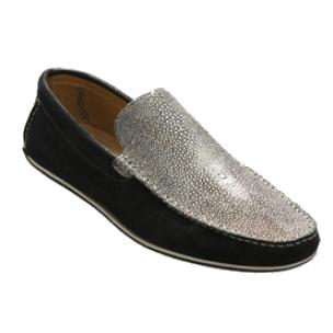 David X Ray Stingray & Suede Loafers Silver / Black Image