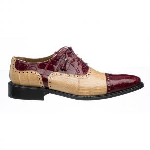 Ferrini 203 / 528 Alligator Cap Toe Shoes Burgundy / Tan Image