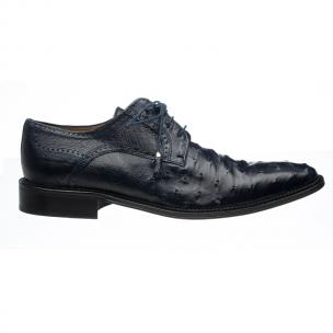 Ferrini 214M Ostrich Quill Lace Up Shoes Navy Image