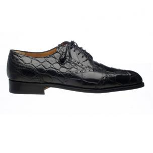 Ferrini 3673 Wingtip Alligator Derby Shoe Black Image