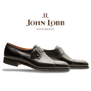 John Lobb Brentwood Goodyear Welt Calfskin Monk Strap Shoes Black Image