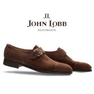 John Lobb Brentwood Goodyear Welt Suede Monk Strap Shoes Dark Brown Image
