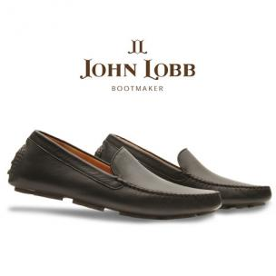 John Lobb Calfskin Driving Loafers Black Image