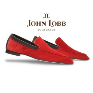 John Lobb Lucca Suede Loafers Cherry Red Image