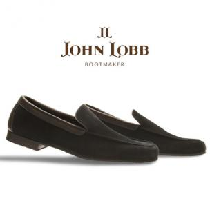 John Lobb Riviera Suede Loafers Pewter (Dark Gray) Image
