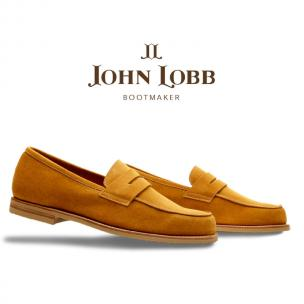 John Lobb Suede Penny Loafers Hyperion Image