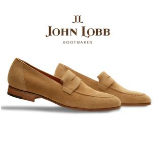 John Lobb Turvey Suede Penny Loafers Cashew Image