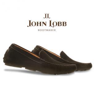 John Lobb Velveteen Nubuck Driving Loafers Ebony Image