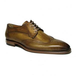 Jose Real Amberes Hand Antiqued Wingtip Shoes Light Brown Image