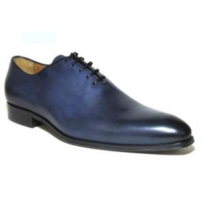 Jose Real Basoto Hand Antiqued Plain Toe Oxfords Blue Image