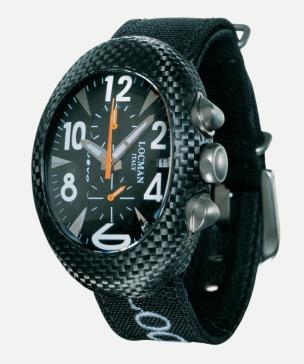 Locman Mens Nuovo Carbonia Watch Black 100BKCRBQ Image