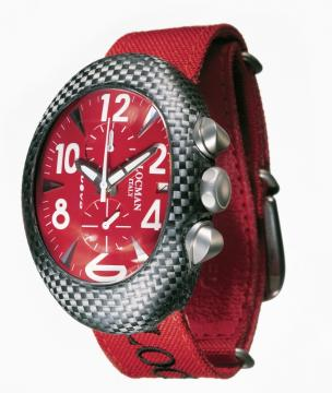 Locman Mens Nuovo Carbonia Watch Red 100RDCRBQ-2 Image
