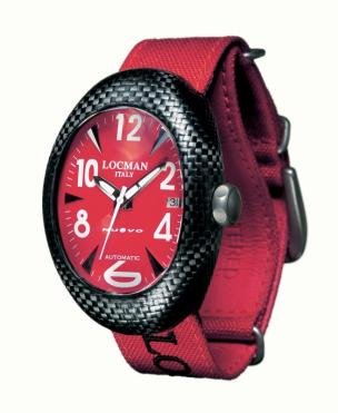 Locman Mens Nuovo Carbonia Watch Red 100RDCRBQ Image