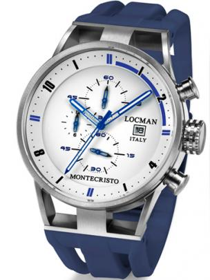 Locman Mens Monte Cristo Oversize Titanium Water Resistant Chrono Watch Blue 510WHBLBL Image