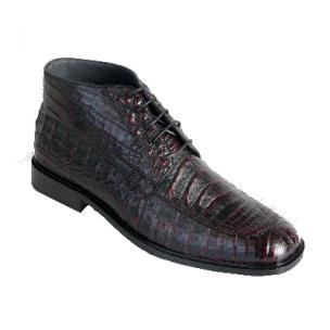 Los Altos Caiman Belly Boots Black Cherry Image