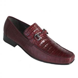 Los Altos Caiman & Lizard Bit Loafers Burgundy Image
